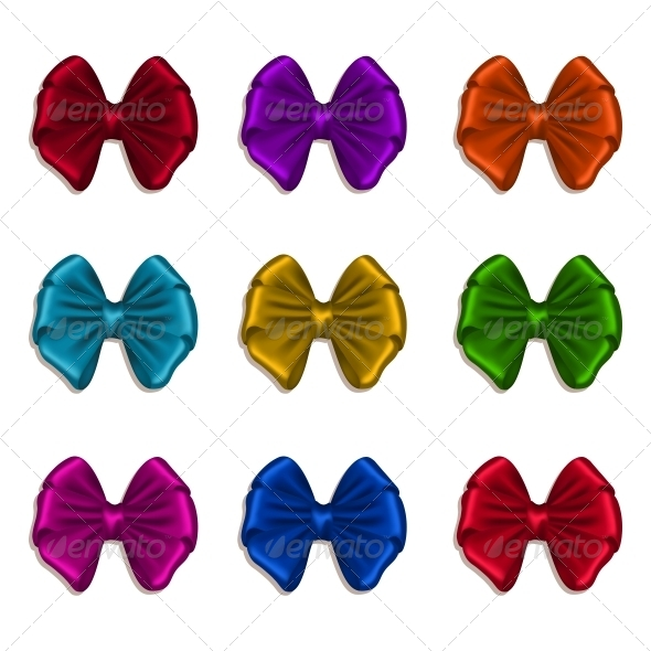 GraphicRiver Set of Elegant Silk Colored Bows 6533328
