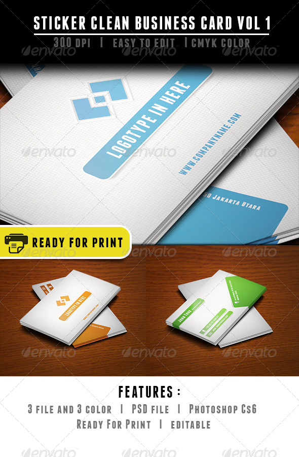 GraphicRiver Sticker Clean Business Card 6503217