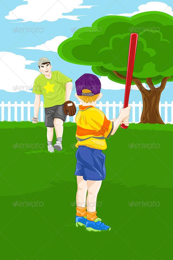 GraphicRiver Father Son Playing Baseball 6533979