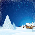 Winter Scene with Wooden House. - PhotoDune Item for Sale