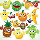 Funny Cartoon Fruits. Colorful Clip art - PhotoDune Item for Sale
