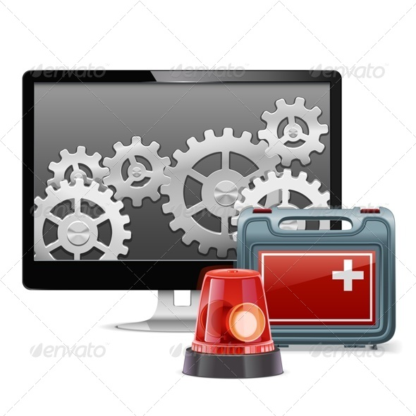 GraphicRiver Vector Computer Emergency Support 6534648