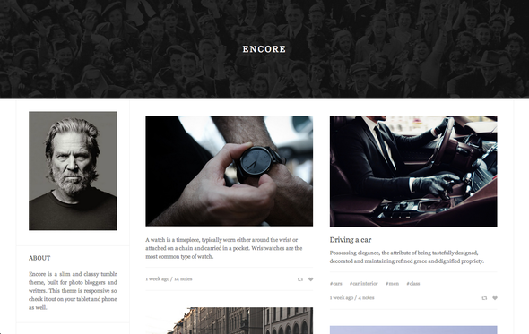 ThemeForest Encore A Sharp and Responsive Tumblr Theme 6535012