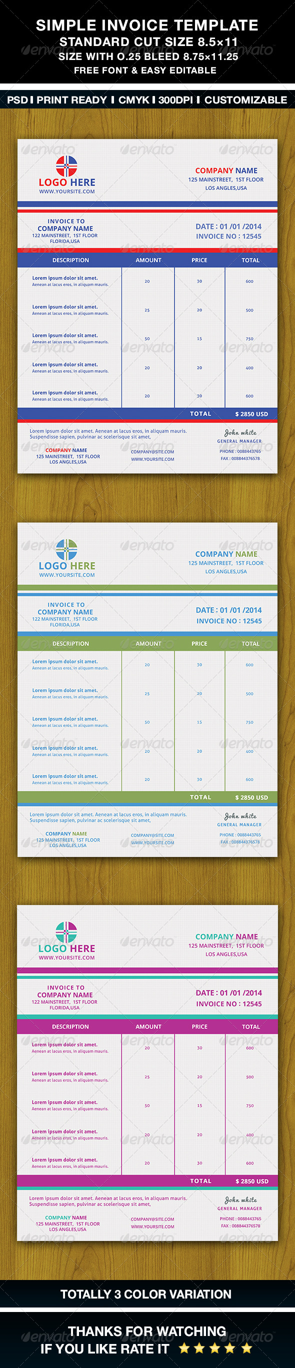 GraphicRiver Simple Invoice Template 6511133