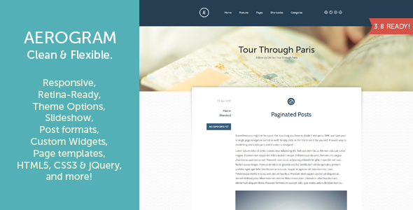 Aerogram - Responsive Retina-Ready WordPress Theme - Personal Blog / Magazine