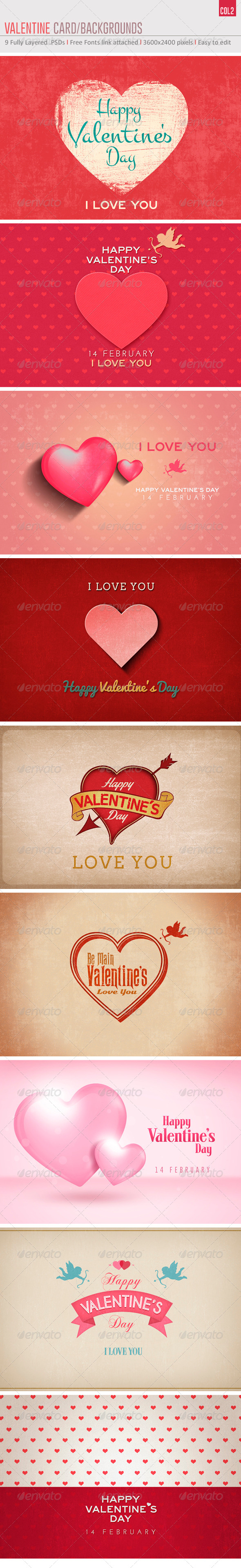 GraphicRiver Valentine s Card Backgrounds Col2 6537369