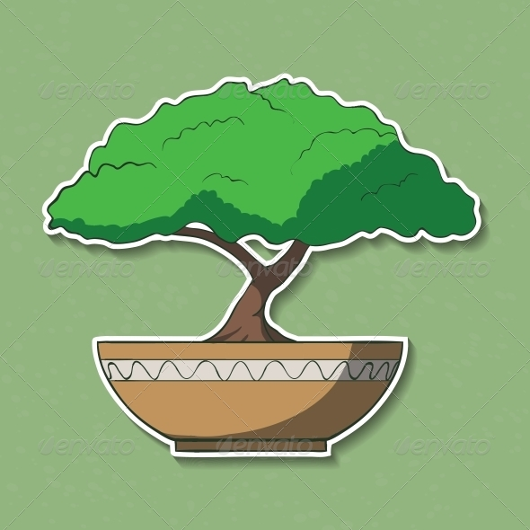 GraphicRiver Illustration of Colorful Paper Bonsai Tree 6537421