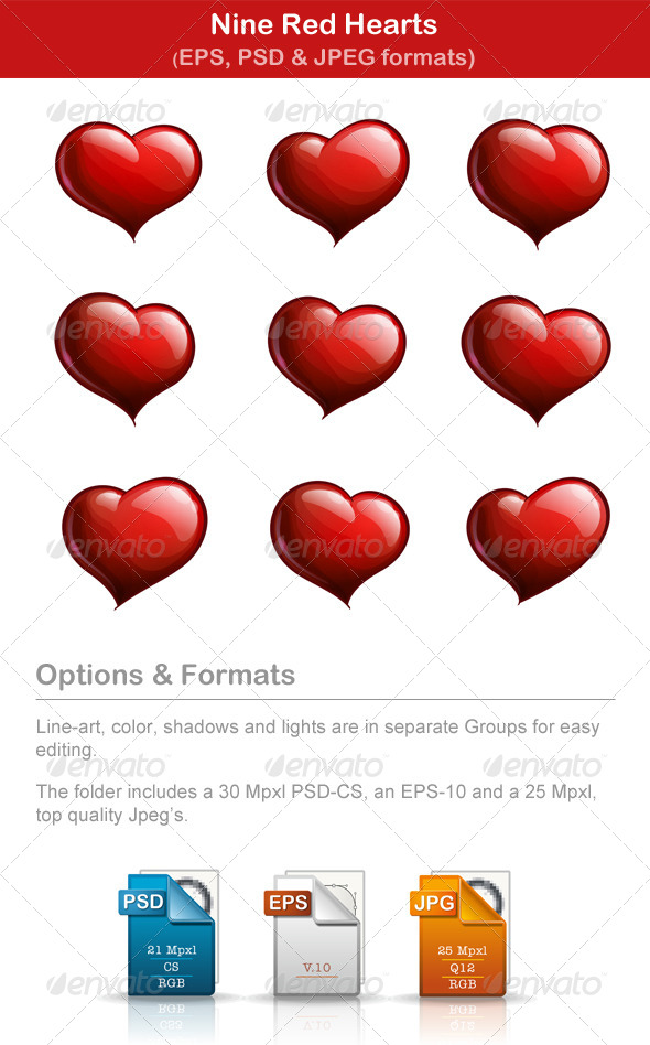 GraphicRiver Nine Red Hearts 6538638
