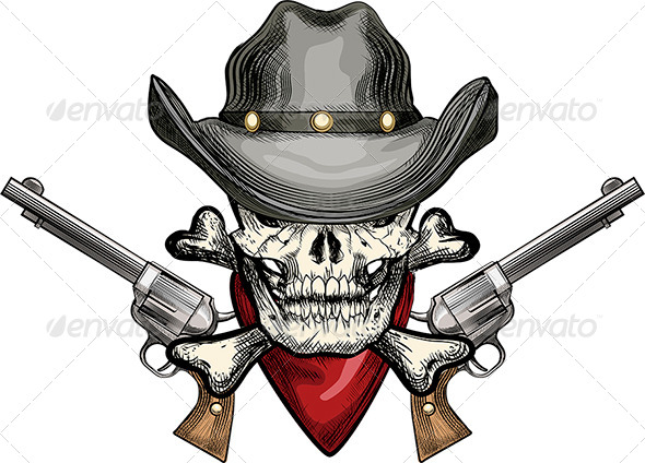 GraphicRiver Skull in Cowboy Hat 6538690