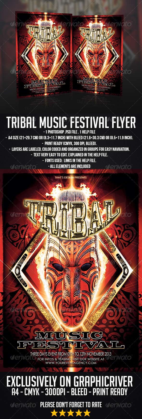 Tribal Music Festival Flyer Template - Concerts Events