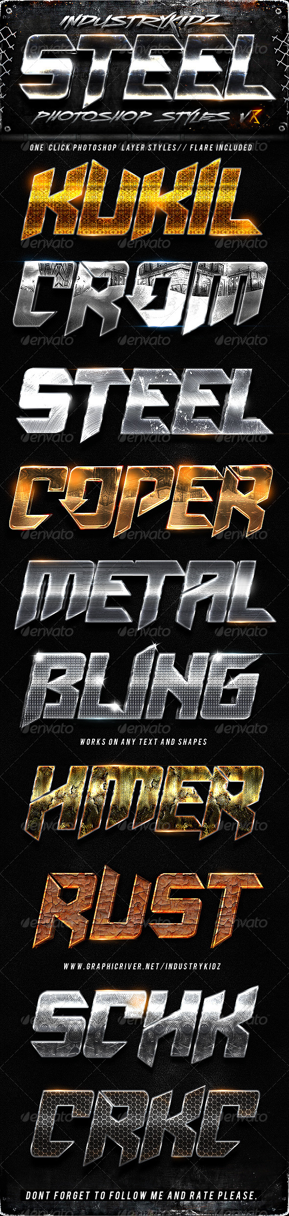 Metal Photoshop Layers Styles V8 - Text Effects Styles