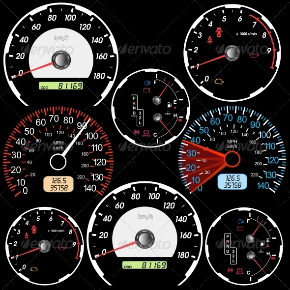 GraphicRiver Set of Car Speedometers for Racing Design 6541101