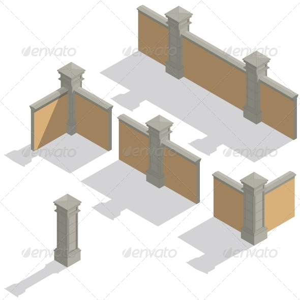 GraphicRiver Isometric Fence Set Construction Kit 6541751
