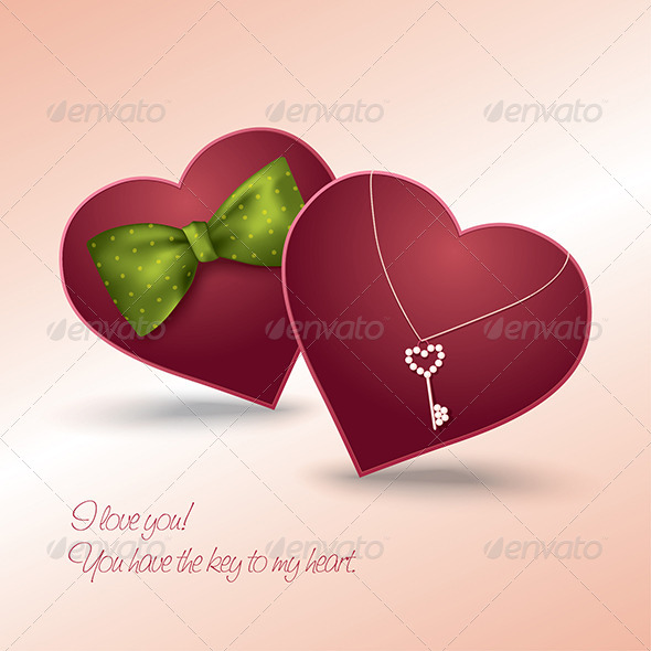 GraphicRiver Valentine s Day Card with Two Hearts in Love 6542204