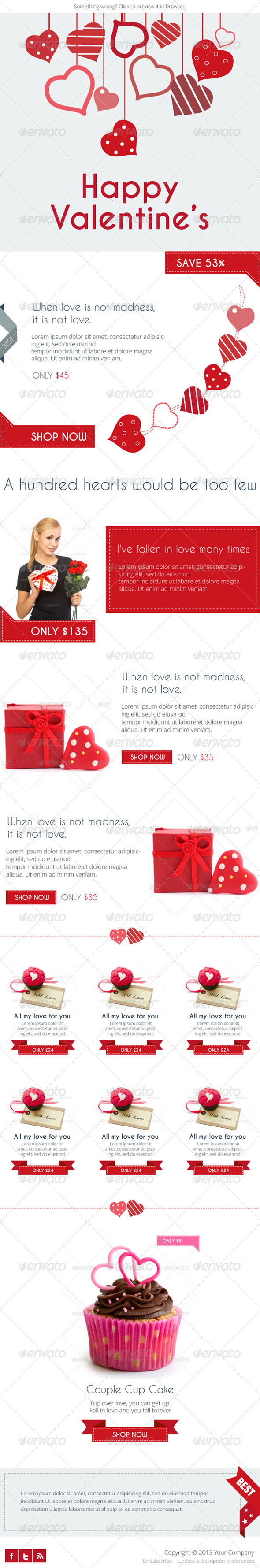 GraphicRiver Flat Valentine s E-newsletter Template 6518168