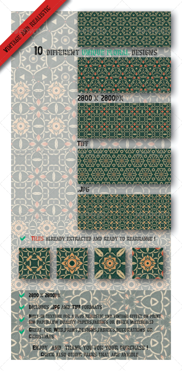 GraphicRiver 10 Decorative Vintage Floral Paper Fabric Patterns 6544884