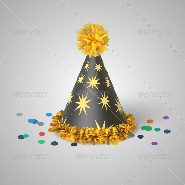 GraphicRiver Grey Party Hat with Yellow Stars 6545275