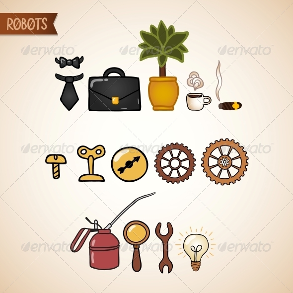 GraphicRiver Steampunk Technology Icons Set 6545401