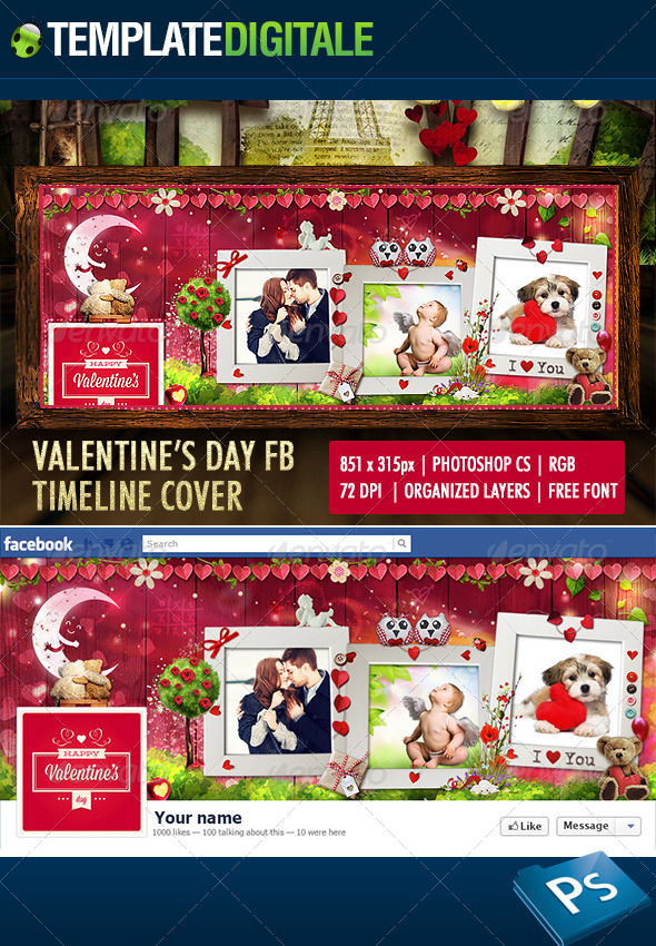GraphicRiver Valentine s Day Facebook Timeline 6546754