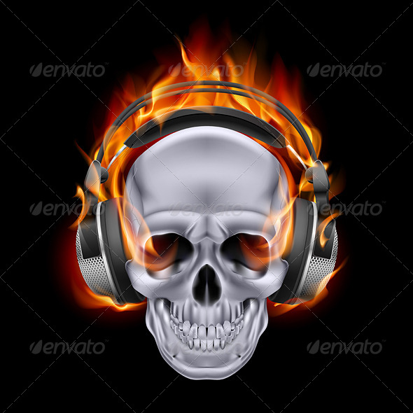 GraphicRiver Flaming Skull in Headphones 6546808