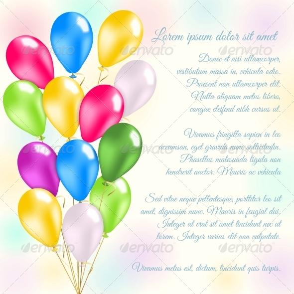 GraphicRiver Colorful Balloons Invitation Card 6547532