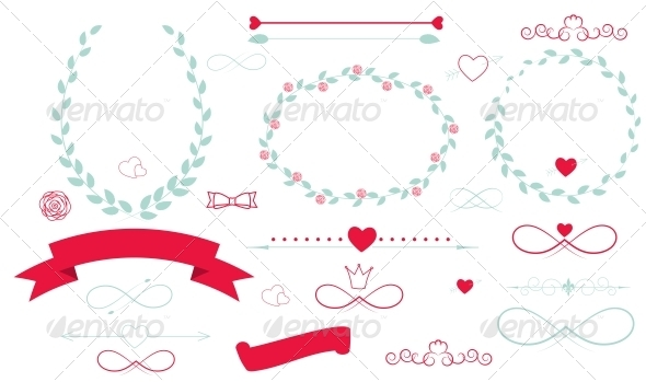 GraphicRiver Set of Wedding Graphics with Arrows Hearts and Ribbons 6548133