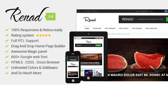 ThemeForest Renad Clean & Modern WordPress Magazine Theme 6539422