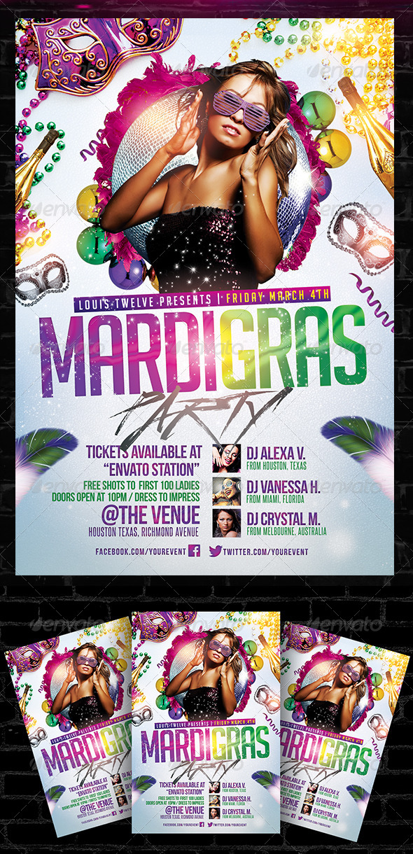 Mardi Gras / Carnival Party Flyer Template - Clubs & Parties Events