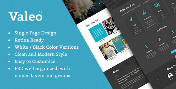 ThemeForest Valeo Single Page Template PSD Design 6550028