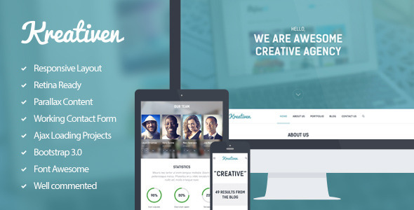 ThemeForest Kreativen Multipurpose Single Page Template 6550334