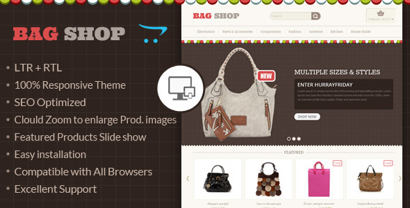 Bag Shop - OpenCart Responsive Theme - Fashion OpenCart