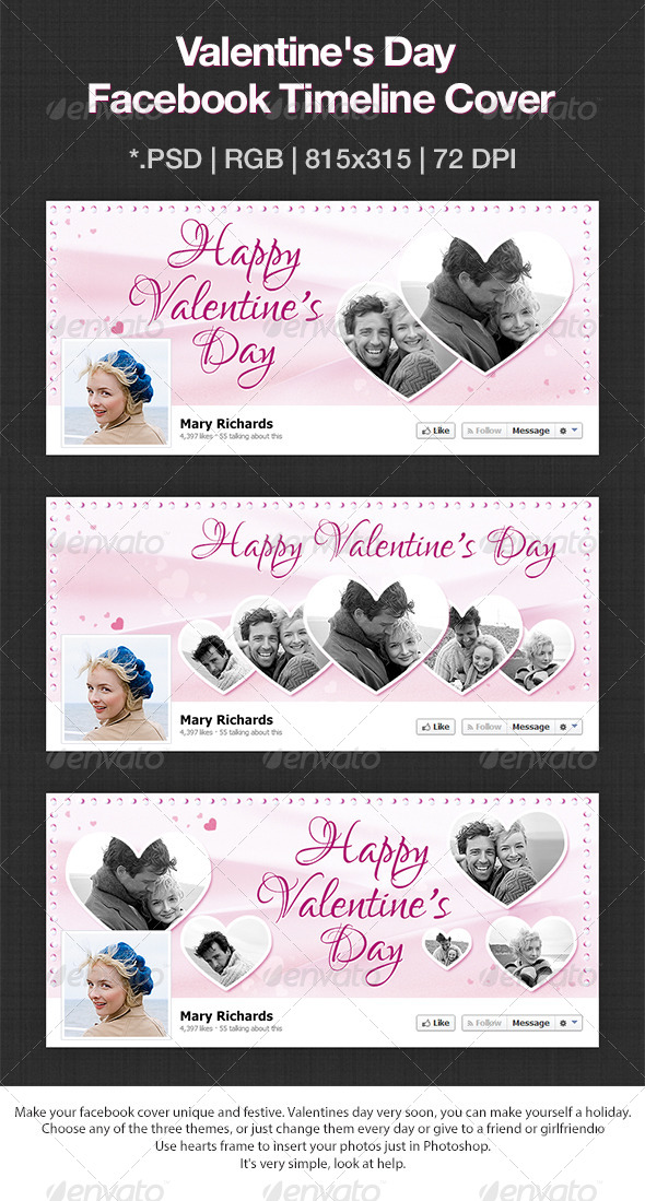 GraphicRiver Happy Valentine Day Facebook Cover 6535719