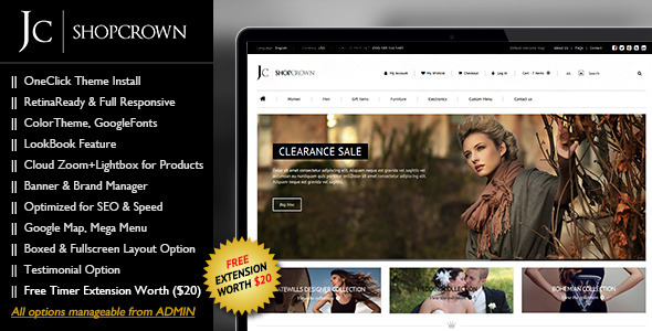 "Shopcrown – Responsive & Retina Ready Magento Theme ""Shopcrown"" – is a premium responsive & retina ready magento theme with clea"