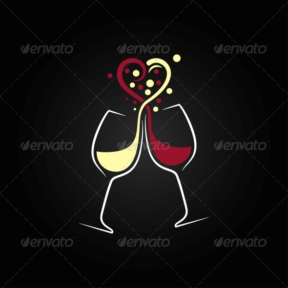 GraphicRiver Red and White Wine Love Concept 6553350