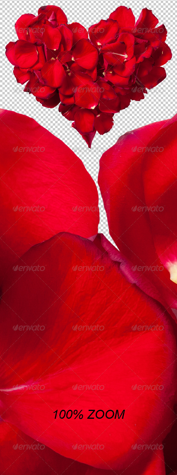 GraphicRiver Red Rose Petals Heart Photo-realistic 6554847