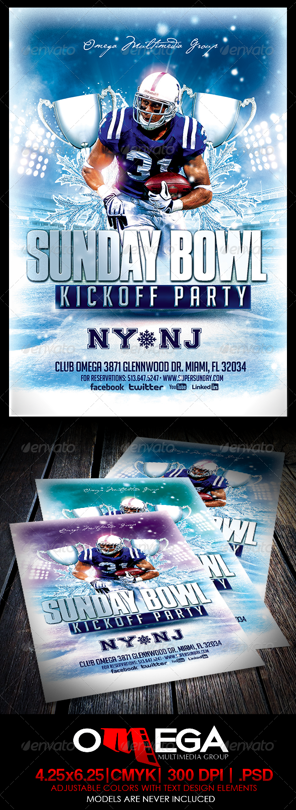 Sunday Bowl Kickoff Party - Events Flyers