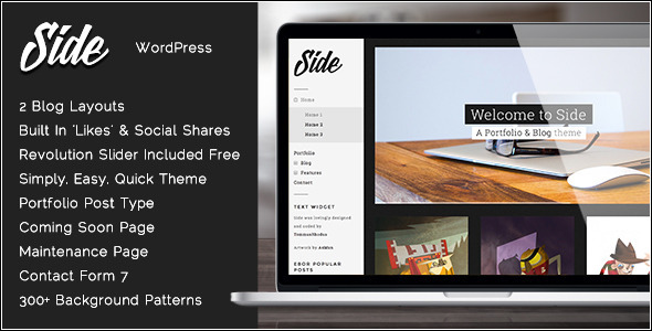 ThemeForest Side Full Width Creative WordPress Theme 6555710