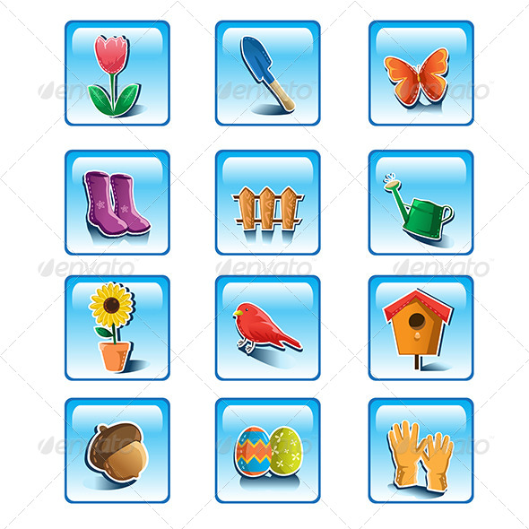 GraphicRiver Spring Gardening Icons 6556081