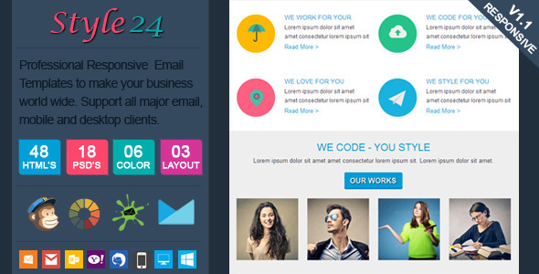 ThemeForest Style24 Clean & Cool Responsive Email Template 6556322