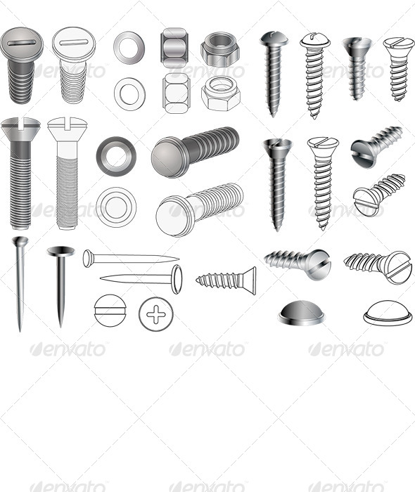 GraphicRiver Complete Set of Bolts and Nuts 6556354