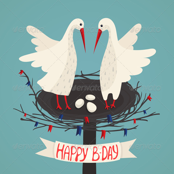 GraphicRiver Parents Storks and Eggs in Nest Birthday Card 6556768