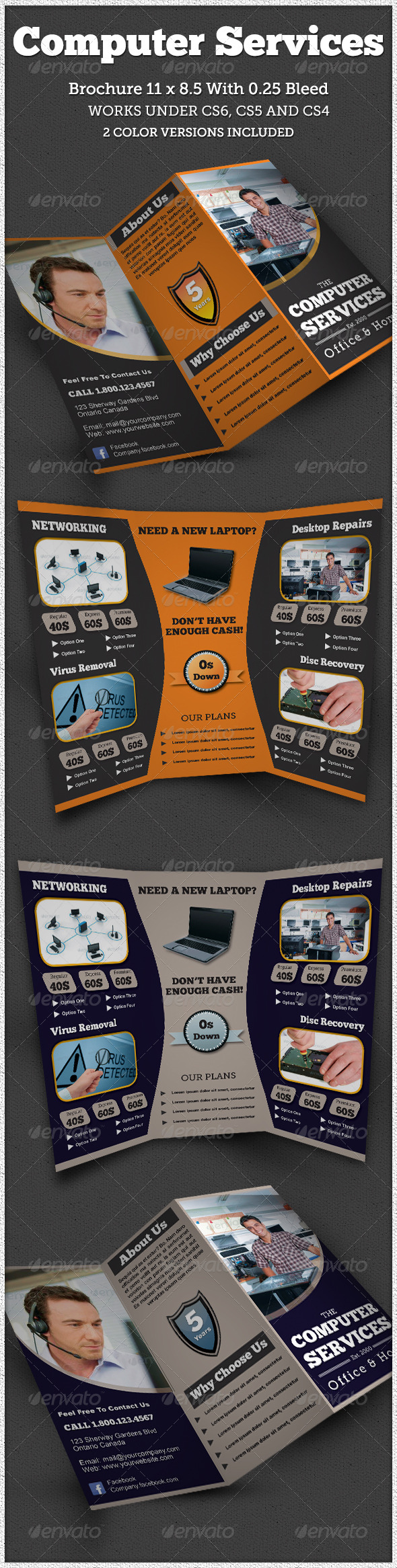 GraphicRiver Computer Service Trifold Brochure Indesign 6547792