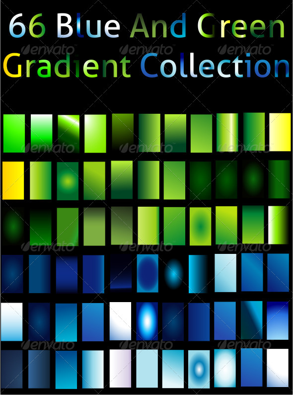 GraphicRiver Blue And Green Gradient Collection For Illustrator 6561078