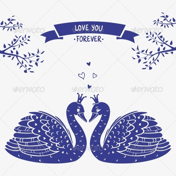 GraphicRiver Swans silhouette 6567734