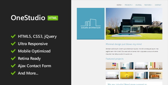OneStudio - Minimal HTML5 Template - Corporate Site Templates