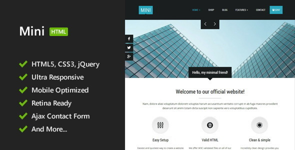 Mini - Unique HTML5 Template - Corporate Site Templates