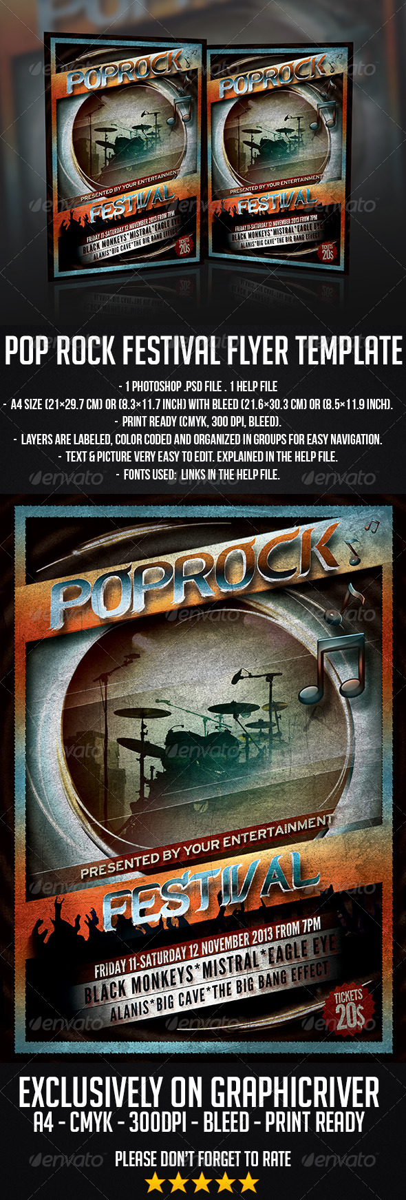 Pop Rock Festival Flyer Template - Concerts Events