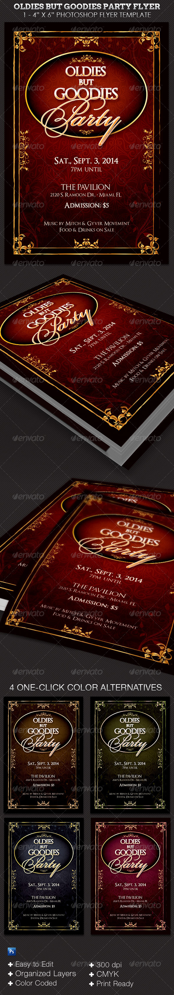 Oldies but Goodies Party Flyer Template  - Clubs & Parties Events