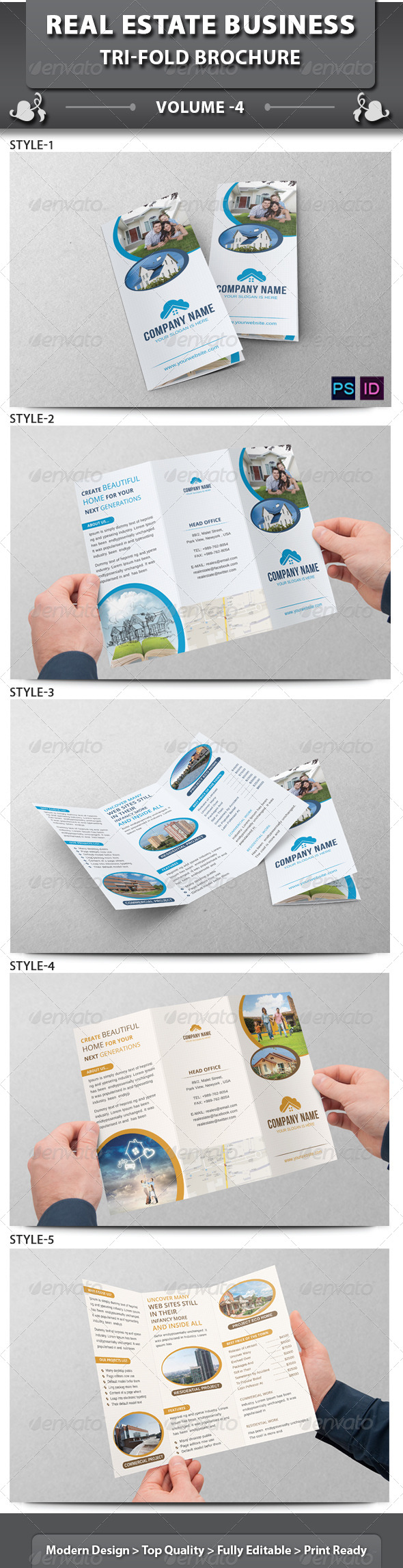 GraphicRiver Real Estate Business Tri-fold Brochure Volume 4 6574745