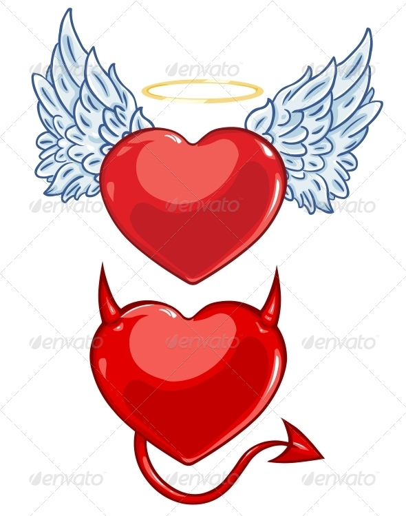 GraphicRiver Cartoon Evil and Angels Hearts 6577182